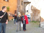 wandering back from Ostia Antica, Julie and Yvonne
